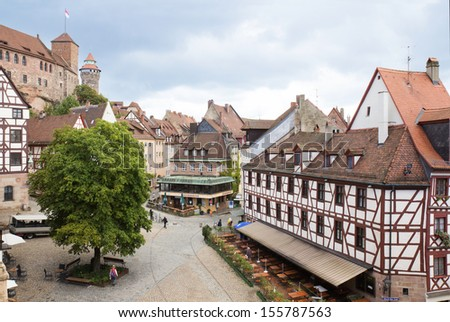 View of Kaiserburg castle and Nuremberg old town in Franconia, Bavaria, Germany.