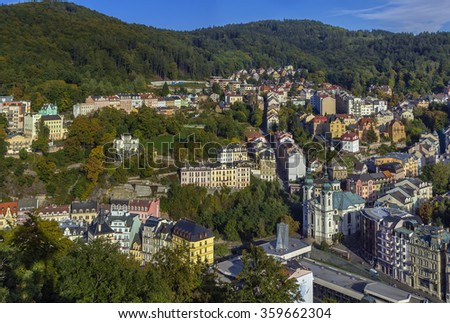 View of Karlovy Vary city center from hill, Czech republic