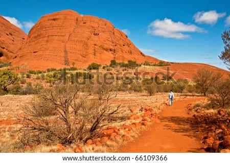 view of Kata Tjuta, australian red center - stock photo