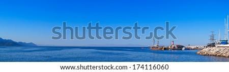 View of Kemer marina and coastline of Antalya, Turkey - stock photo