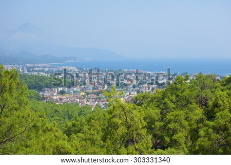 view of Kemer, Turkey and sea from a mountain - stock photo