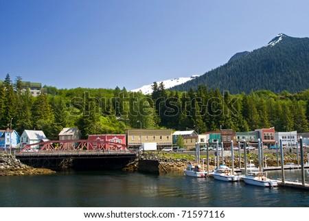 View of Ketchikan Street, Alaska - stock photo