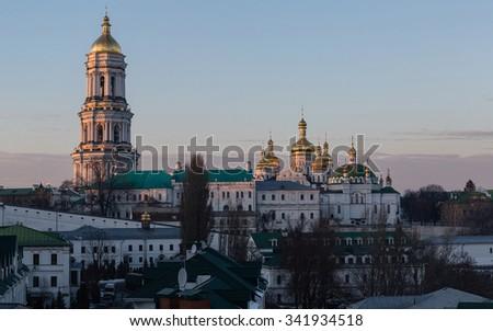 View of Kiev Pechersk Lavra Orthodox Monastery, Ukraine - stock photo