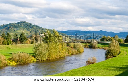 View of Kinzig river in the Black Forest mountains. Germany - Baden-Wurttemberg - stock photo
