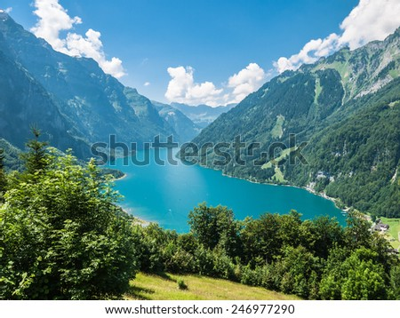 View of Kloentaler lake (Kloenthalsee) in Summer, Glarus, Switzerland