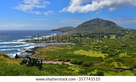 View of Koko Crater from Makapuu Point Lighthouse Trail, Oahu, Hawaii - stock photo