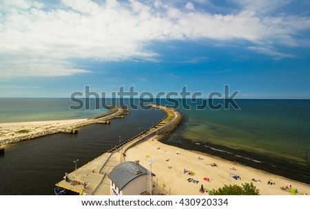 View of Kolobrzeg port entrance, Baltic sea, Poland
