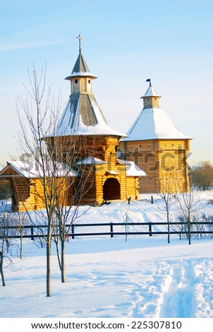 View of Kolomenskoye park in Moscow in winter. Popular touristic landmark, famous place in Moscow. - stock photo