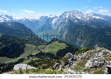View of Konigsee from Mt.Jenner, Berchtesgaden, Germany - stock photo