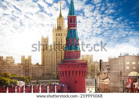 View of Kotelnicheskaya embankment from Kremlin - stock photo
