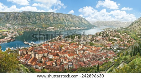 view of kotor bay on sunny day, Kotor, Montenegro - stock photo