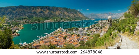 view of kotor bay on sunny day, Kotor, Montenegro