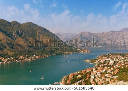 View of Kotor city and Boka Kotorska Bay on a sunny autumn day. Montenegro