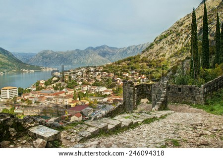 view of Kotor city from castle of san giovanni walls, Montenegro