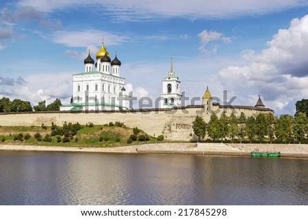 view of Krom or Kremlin in Pskov from Velikaya river, Russia - stock photo