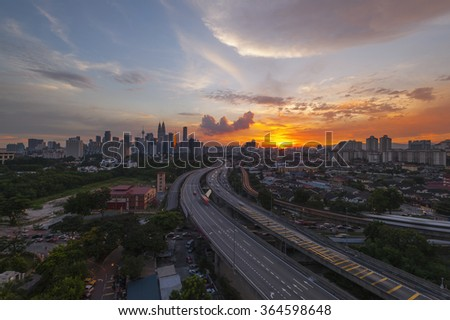 View of Kuala Lumpur is the capital city of Malaysia during sunset