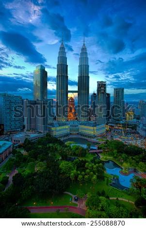 View of Kuala Lumpur skyline at sunset - stock photo