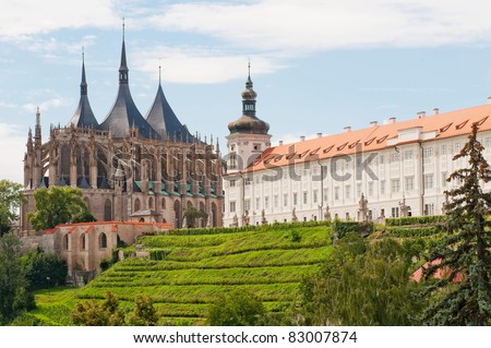 View of Kutna Hora with Saint Barbara's Church that is a UNESCO world heritage site, Czech Republic. - stock photo