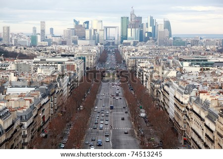 view of La Defense business quarter, Grand Armagh avenue at winter in Paris, France - stock photo