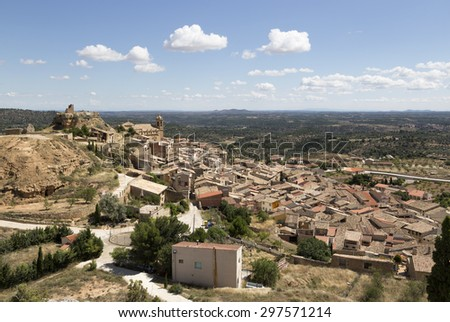 View of La Fresneda in Teruel, Aragon community - stock photo