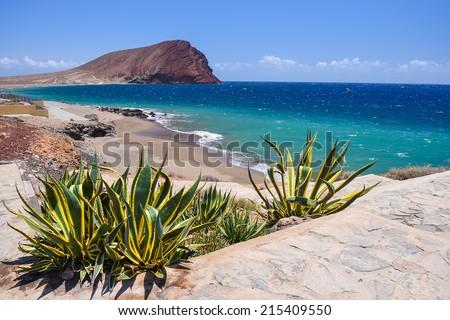 View of La Tejita beach and El Medano mountain, Tenerife, Canary islands, Spain  - stock photo