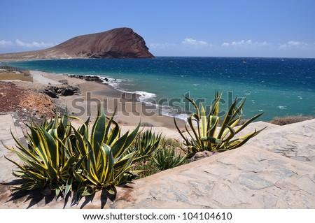 View of La Tejita beach, Tenerife, Canary islands, Spain - stock photo