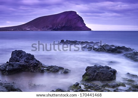 View of La Tejita beach, Tenerife, Canary islands, Spain  - stock photo