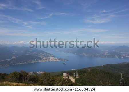 View of Lago from Mottarone mountain ski center - stock photo