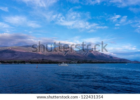 VIew of Lahaina in Maui at sunset, Hawaii, USA - stock photo