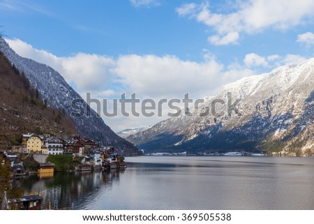 View of lake and mountains of Hallstatt, Austria, in early morning light