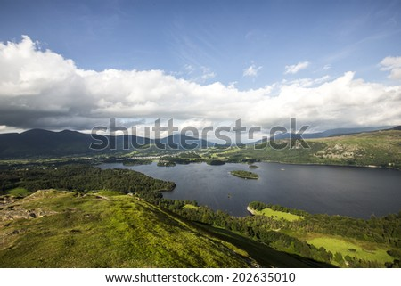 View of Lake Derwentwater and Town of Keswick from Catbells in Lake District, England. - stock photo