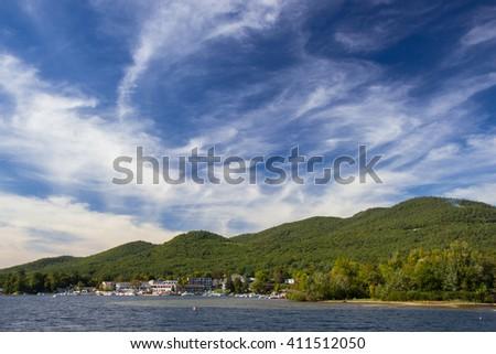 view of Lake George, New York, USA - stock photo