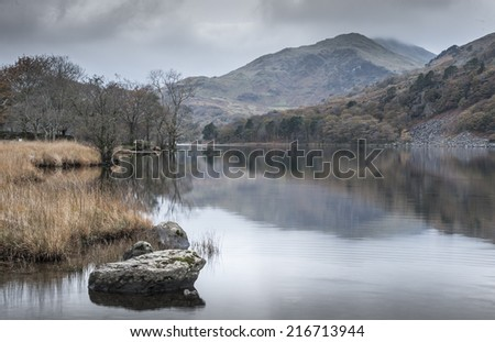 View of Lake in North Wales - stock photo