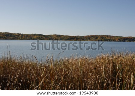 View of lake in Onekama, Michigan