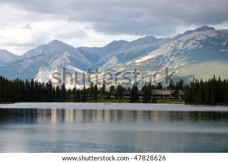 View of lake Lac Beauvert in Jasper National Park.