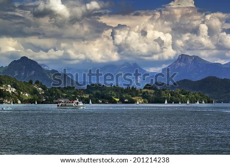 view of Lake Lucerne and Alps, Switzerlan
