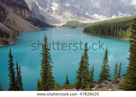 View of lake Mordine in Banff National park.