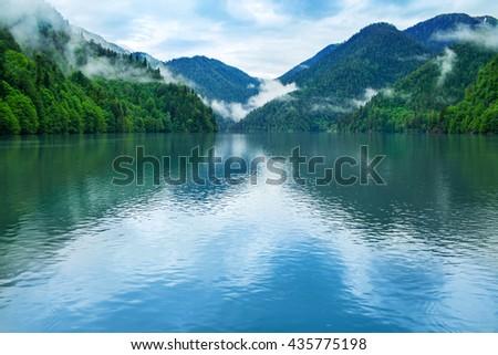 View of Lake Riza. Abkhazia. - stock photo