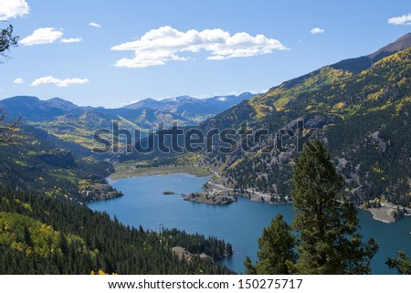 View of Lake San Cristobal in brilliant fall colors. Near lake City, Colorado.