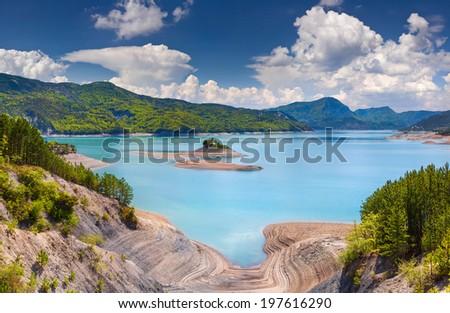 View of lake Serre-Poncon, Alps, France. - stock photo