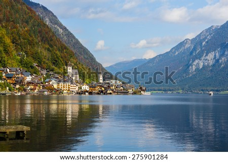 View of lake side village of Hallstatt in autumn, Austria. - stock photo