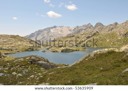 View of  lake surrounded by mountains in Spanish Pyrenees