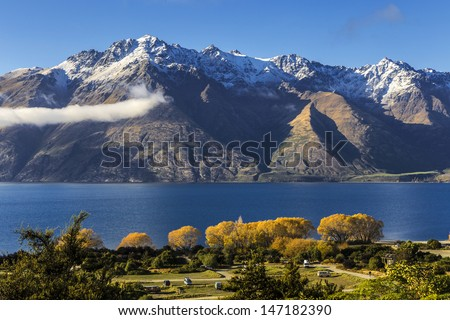 view of Lake Wakatipu, Glenorchy Queenstown Road, South Island, New Zealand - stock photo