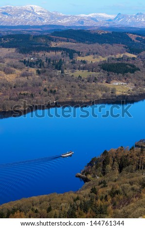 View of Lake Windermere from Gummers How in Lake District National Park Cumbria England - stock photo