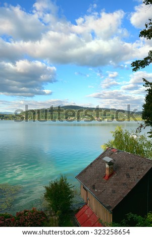view of lake Worth (Worthersee). Austria - stock photo