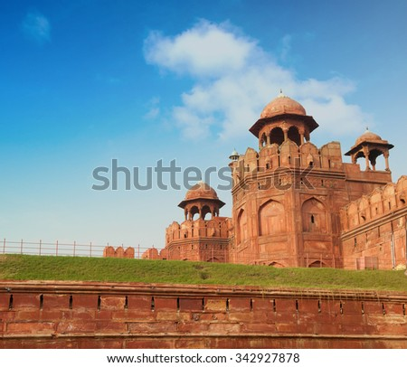 View of Lal Qila - Red Fort in Delhi, India - stock photo