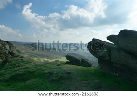 view of landcape in peak district near chatworth house - stock photo