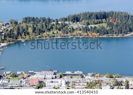 View of landscape of South Island, New Zealand. - stock photo