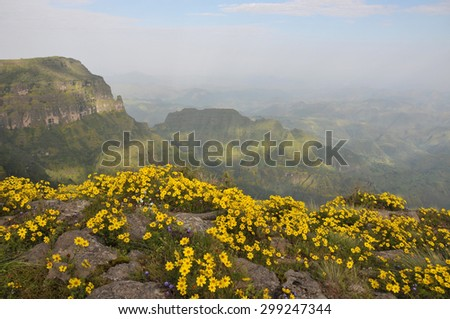 View of landscape on Simien mountains park, Ethiopia. - stock photo