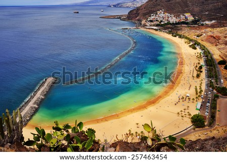 View of Las Teresitas Beach, Tenerife Island, Spain - stock photo